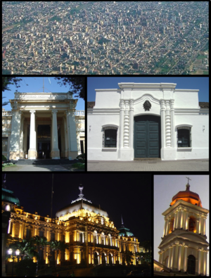 San Miguel de Tucumán - (From top to bottom; from left to right) Aerial view of the city; Nacional University of Tucumán; Independence House; Tucumán Government House and the Tucumán Cathedral.