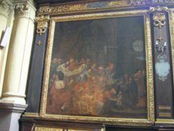 Obraz przedstawiający rzekomy mord rytualny (prawa strona obrazu) autorstwa Karola de Prevota