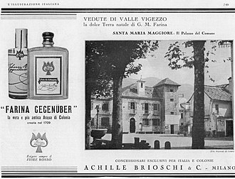 Brioschi (company) - Advertisement for an Eau de Cologne which Brioschi distributed in Italy and its colonies