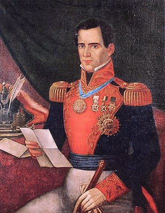 Dictatorship - Antonio López de Santa Anna wearing Mexican military uniform