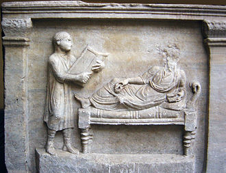 Slavery in ancient Rome - 4th-century sarcophagus relief of Valerius Petronianus, with his slave holding writing tablets