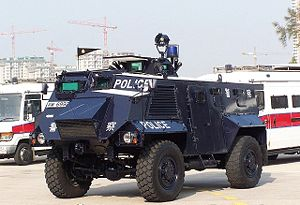 Saxon (vehicle) - A Hong Kong Police Force Police Tactical Unit Saxon AT105, all retired in 2009.