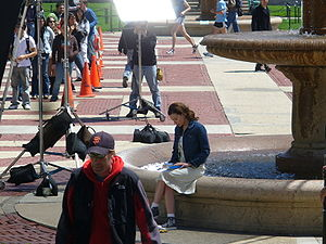 Columbia University in popular culture - Scarlett Johansson at Columbia University during the shooting of ''The Nanny Diaries''.