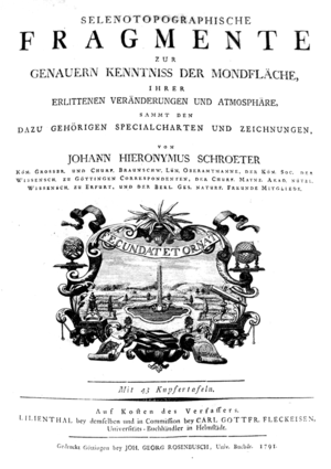 Johann Hieronymus Schröter - Title page from the Selenetopographische Fragmente