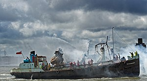 Sea Odyssey: Giant Spectacular - All three giants leaving Liverpool aboard a boat on 22 April