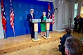 Secretary Kerry Listens as Norwegian Prime Minister Solberg Addresses Reporters at a News Conference in Oslo (27593180962).jpg