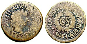 Lucius Arruntius the Younger - Roman As depicting Tiberius, struck in 31, Augusta Bilbilis. The reverse reads Augusta Bilbilis Ti(berius) Caesare L(ucius) Aelio Seiano, marking the consulship of Sejanus in that year.
