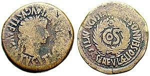 Sejanus - Roman As depicting Tiberius, struck in 31, Augusta Bilbilis. The reverse reads Augusta Bilbilis Ti(berius) Caesar L(ucio) Aelio Seiano, marking the consulship of Sejanus in that year.