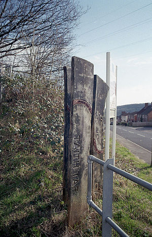 Taff Trail - Wooden sign marking the Taff Trail Rhydyfelin.