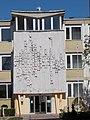 Singing children relief, Szentgyörgyi School facade, Bartók Square, Eger, 2016 Hungary.jpg
