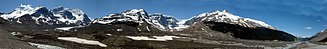 Winston Churchill Range - Mount Athabasca, Mount Andromeda, Athabasca Glacier, Snow Dome, Dome Glacier and Mount Kitchener