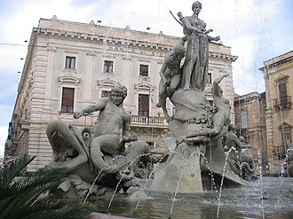 Detail of the Fountain of Diana Siracusa-piazza archimede.jpg
