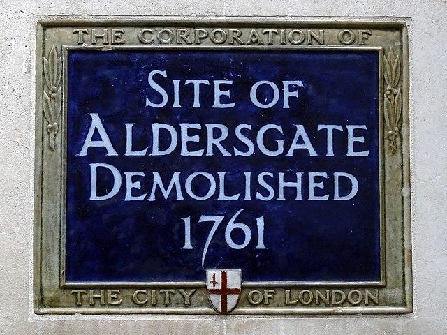 Aldersgate blue plaque - Site of  Aldersgate  demolished  1761