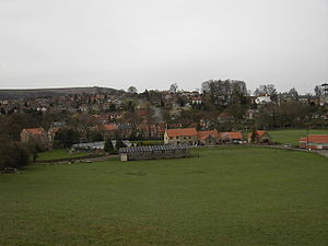 Sleights - Sleights Cricket Club (top right) with the village behind