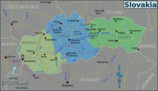 Kaart van Slowakije