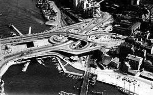 Slussenområdet - Aerial view of Slussen in 1935.