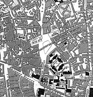 Smithfield, London - Smithfield in 1827, from John Greenwood's map of London