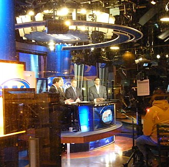 SportsNet New York - Broadcast as seen through the window of SNY's street-level studio in the Time-Life Building.