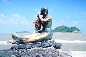 Songkhla Province - Mermaid statue at Laem Samila