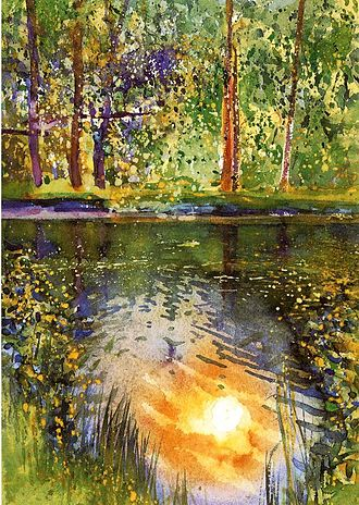 Heinz Anger - 'Sun in the fishpond', water colour 1986