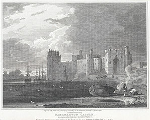 South side of Caernarvon Castle: Caernarvonshire, north Wales