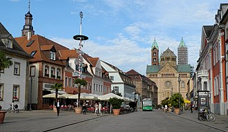 Speyer - Main street in Speyer with the Speyer Cathedral in the background