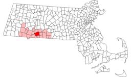 Byens beliggenhed i Massachusetts.