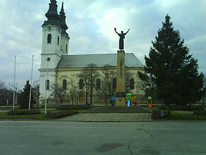 Srbobran - A square in Srbobran and Orthodox church