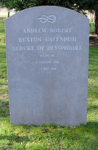 Andrew Cavendish, 11th Duke of Devonshire - St Peter's Churchyard, Edensor - grave of Andrew Cavendish, 11th Duke of Devonshire KG, MC, PC, DL (1920–2004)