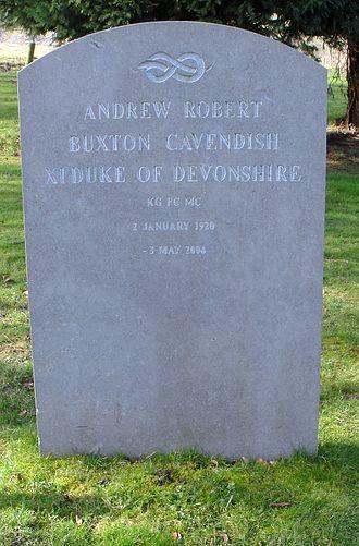 Andrew Cavendish, 11th Duke of Devonshire - St Peter's Churchyard, Edensor - grave of Andrew Cavendish, 11th Duke of Devonshire KG, MC, PC, DL (1920–2004)