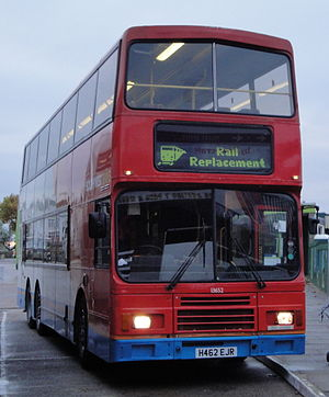 Rail replacement bus service - Stagecoach in Hampshire rail replacement bus in Ryde bus station, UK.