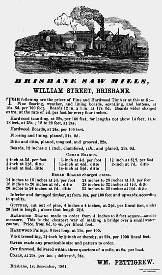 William Pettigrew - Advertisement for Brisbane Saw Mills, William Street, Brisbane, 1861