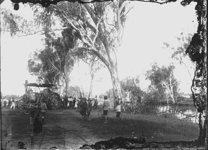 File:StateLibQld 1 138575 Derrett's traction engine winching dead trees from the lagoon, Clermont, 1917.jpg