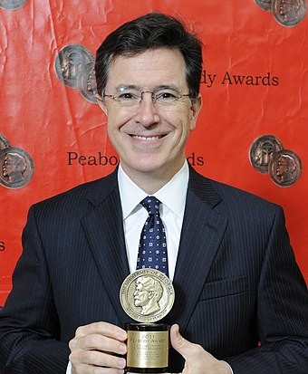 Colbert with his Peabody Award, May 2012 Stephen Colbert 2012 (cropped).jpg