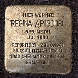 Photo of Regina Apisdorf brass plaque