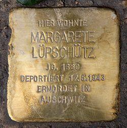 Photo of Margarete Lüpschütz brass plaque