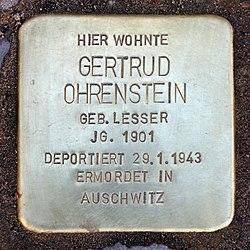 Photo of Gertrud Ohrenstein brass plaque