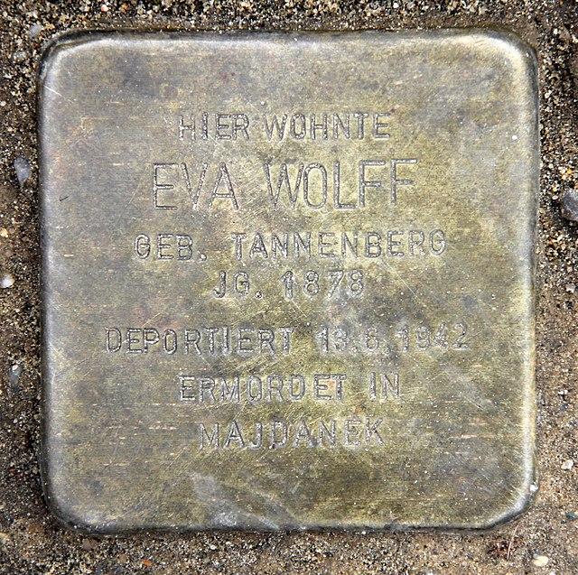 Photo of Eva Wolff brass plaque