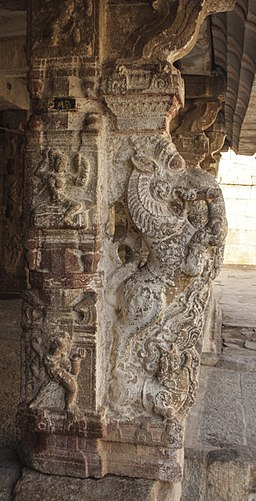 Stone pillars of temple in Hampi 02