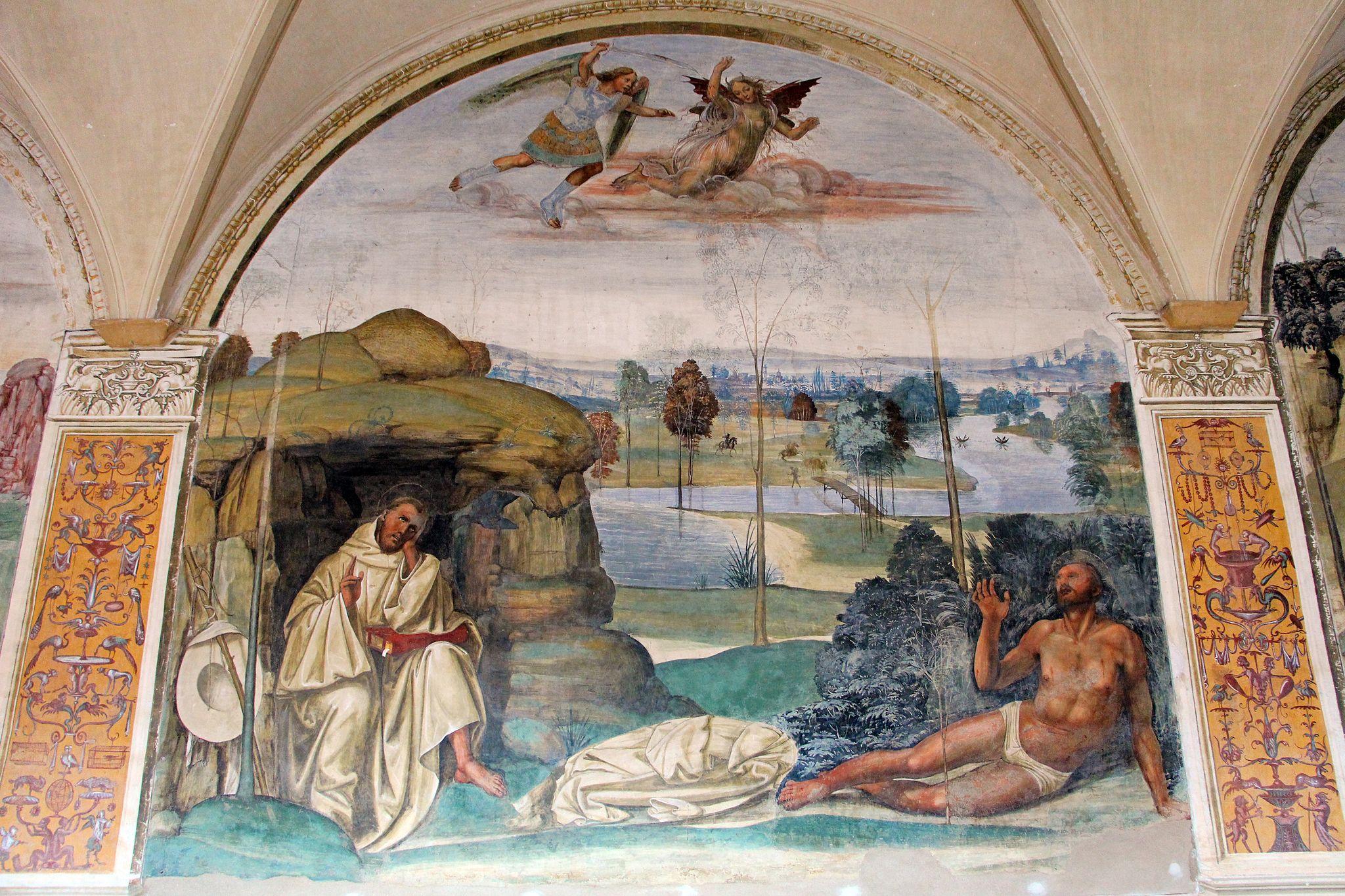 Storie di s. benedetto, 08 sodoma - Come Benedetto tentato d'impurità supera la tentazione 01