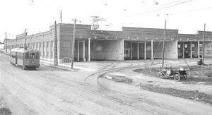 "San Diego Electric Railway - A view of the SDERy streetcar barn located at ""Mission Cliffs Gardens"" on Adams Avenue, circa 1915"