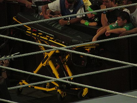 A stretcher at ringside prior to a stretcher match Stretcher match.jpg
