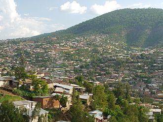 Kigali - Mount Kigali and one of the northern suburbs