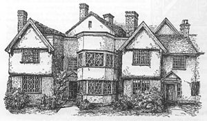 Sweetbriar Hall - Engraving c. 1883 showing the rendered front