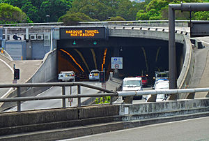 Sydney Harbour Tunnel - Southern entrance to the Sydney Harbour Tunnel, heading northbound