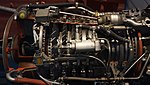 T64-IHI-10E turboprop engine(cutaway model) compressor section left side view at Kakamigahara Aerospace Science Museum November 2, 2014.jpg