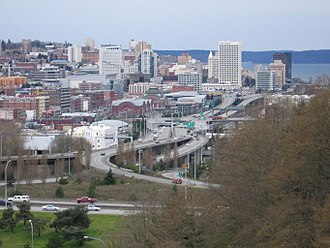 Tacoma, Washington - Image: Tacoma skyline and I 705 from the East 34th Street Bridge