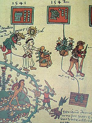 Mixtón War - The death of Pedro de Alvarado is pictured at the top left. The Amerindian leader Francisco Tenamaztle faces Viceroy Antonio de Mendoza at the bottom left.