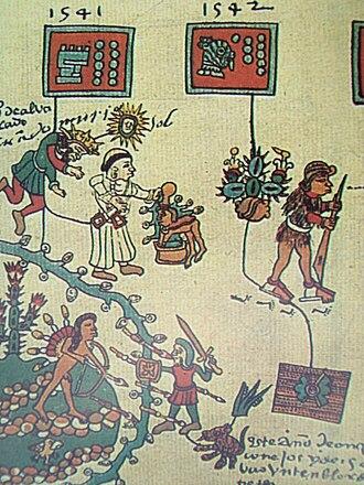 Mixtón War - The death of Pedro de Alvarado is pictured at the top left. The Amerindian leader Francisco Tenamaztle faces Viceroy Antonio de Mendoza at the bottom left.