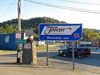 """U.S. Route 25W - Tennessee welcome sign (""""Tennessee welcomes you"""") at the Tennessee–Kentucky state line in Jellico, Tennessee."""